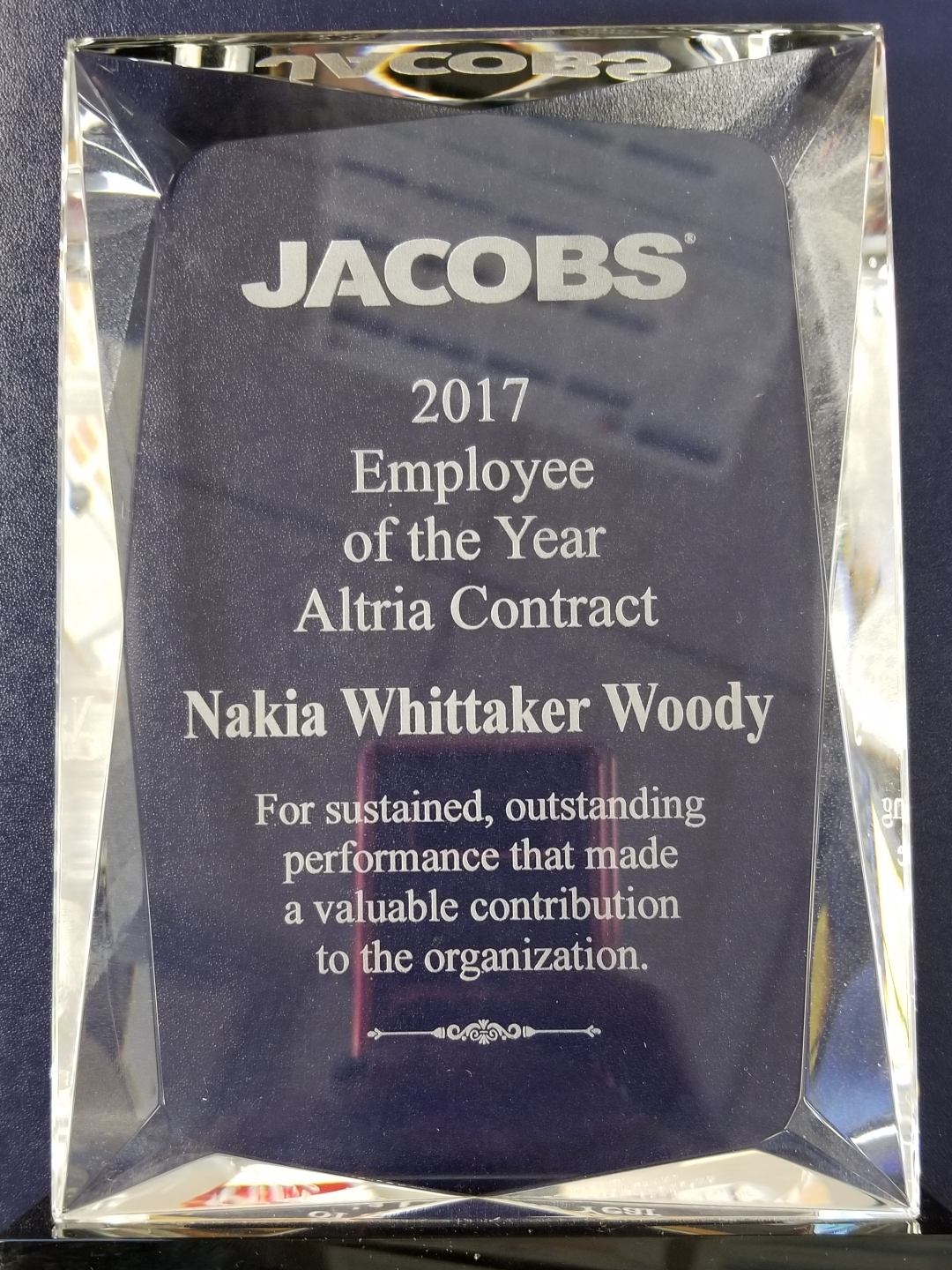 2017 Employee of the Year Altria Congtract